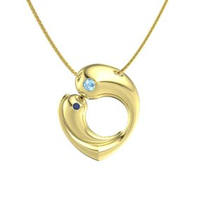14K Yellow Gold Pendant with Blue Topaz and Blue Sapphire