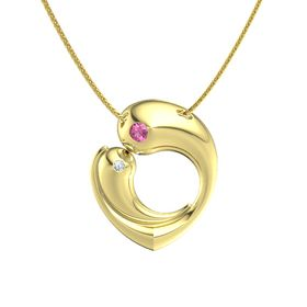 14K Yellow Gold Necklace with Pink Tourmaline & Diamond