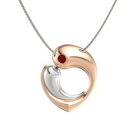 18K Rose Gold Necklace with Ruby & Diamond