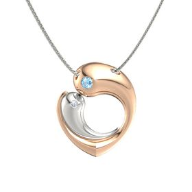 18K Rose Gold Pendant with Blue Topaz and Diamond