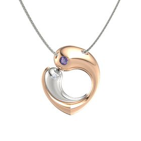 18K Rose Gold Pendant with Iolite and Diamond