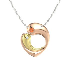 18K Rose Gold Pendant with Fire Opal and Diamond