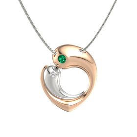 18K Rose Gold Pendant with Emerald and White Sapphire