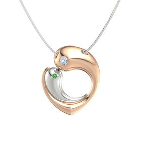 18K Rose Gold Pendant with Diamond and Emerald