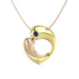 18K Yellow Gold Necklace with Sapphire & Diamond