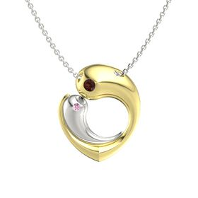 18K Yellow Gold Pendant with Red Garnet and Pink Sapphire