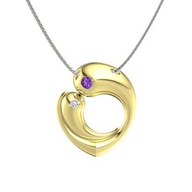 18K Yellow Gold Pendant with Amethyst and Tanzanite