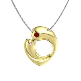 18K Yellow Gold Pendant with Ruby and Pink Sapphire
