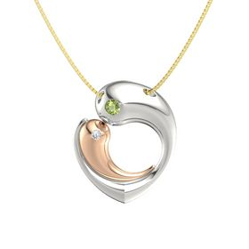 Platinum Necklace with Peridot & Diamond