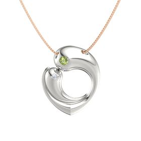Platinum Pendant with Peridot and Diamond