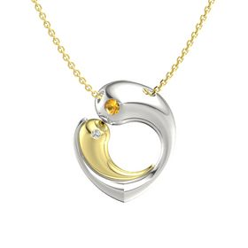 Platinum Pendant with Citrine and White Sapphire
