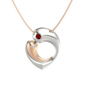 Platinum Necklace with Ruby & Diamond