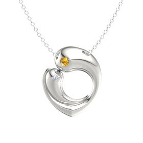 Platinum Pendant with Citrine and Diamond