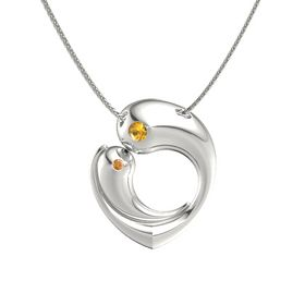 Platinum Necklace with Citrine