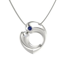 Platinum Necklace with Sapphire & Diamond