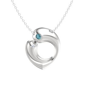 Sterling Silver Pendant with London Blue Topaz and Diamond