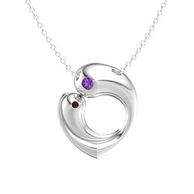 Sterling Silver Necklace with Amethyst & Red Garnet