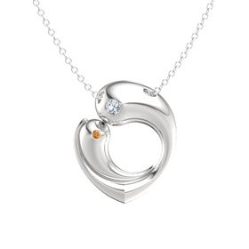 Sterling Silver Necklace with Diamond & Citrine
