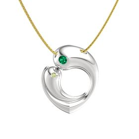 Sterling Silver Necklace with Emerald & Peridot