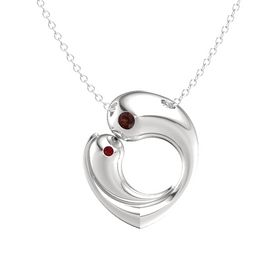 Sterling Silver Necklace with Red Garnet & Ruby