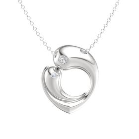Sterling Silver Necklace with White Sapphire & Diamond