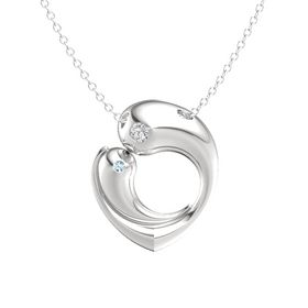Sterling Silver Necklace with White Sapphire & Aquamarine