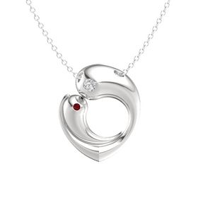 Sterling Silver Pendant with White Sapphire and Ruby