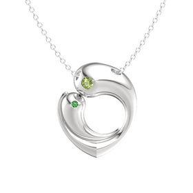 Sterling Silver Necklace with Peridot & Emerald