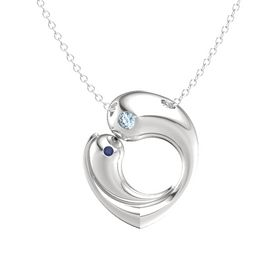 Sterling Silver Necklace with Aquamarine & Sapphire