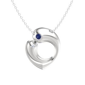 Sterling Silver Pendant with Blue Sapphire and Diamond