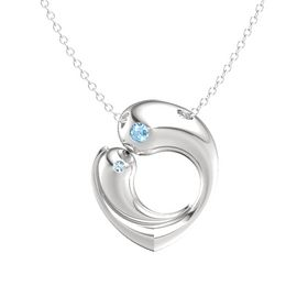 Sterling Silver Necklace with Blue Topaz & Aquamarine