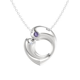 Sterling Silver Pendant with Iolite and Diamond