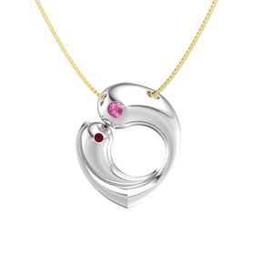 Sterling Silver Pendant with Pink Tourmaline and Ruby