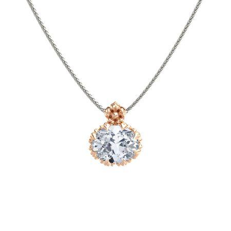 Oval diamond 14k rose gold pendant rosette pendant gemvara rosette pendant aloadofball Image collections