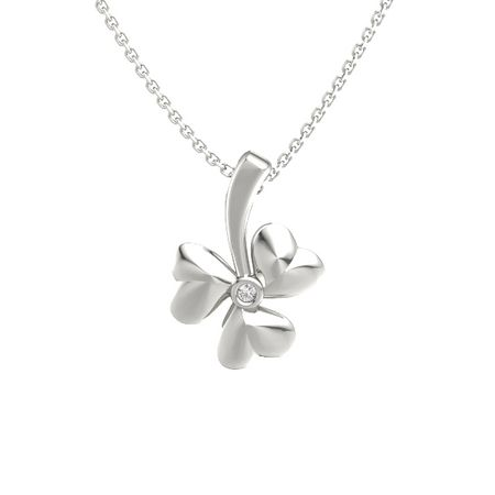 14k white gold pendant with white sapphire shamrock pendant gemvara shamrock pendant aloadofball Images