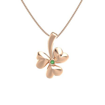 14k rose gold necklace with emerald shamrock pendant gemvara shamrock pendant aloadofball Images