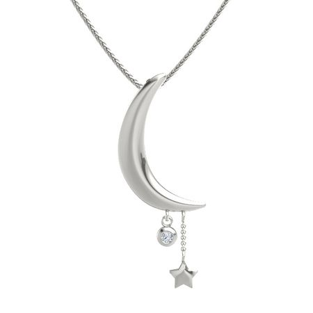 14k white gold necklace with diamond moon and star pendant gemvara moon and star pendant aloadofball Images