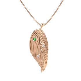 Round Emerald 14K Rose Gold Pendant with White Sapphire