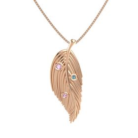 Round Pink Tourmaline 14K Rose Gold Pendant with Pink Tourmaline and London Blue Topaz