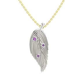 Round Amethyst 14K White Gold Pendant with Amethyst
