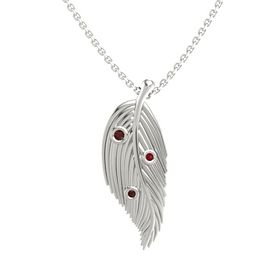 Round Red Garnet 14K White Gold Pendant with Red Garnet and Ruby