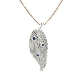 Round Blue Sapphire 14K White Gold Pendant with Blue Sapphire