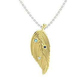 Round London Blue Topaz 14K Yellow Gold Pendant with Aquamarine and Blue Sapphire
