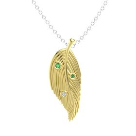Round Emerald 14K Yellow Gold Pendant with Diamond and Emerald