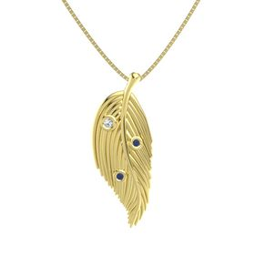 Round White Sapphire 14K Yellow Gold Pendant with Blue Sapphire
