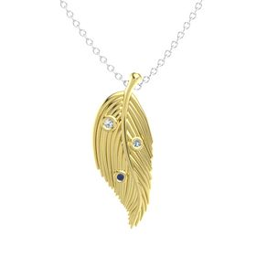 Round White Sapphire 14K Yellow Gold Pendant with Blue Sapphire and Blue Topaz
