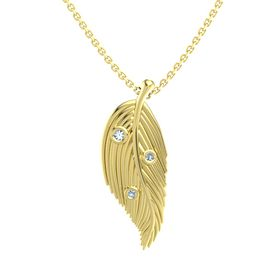 Round Blue Topaz 14K Yellow Gold Pendant with Blue Topaz