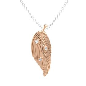 Round Rock Crystal 18K Rose Gold Pendant with Diamond