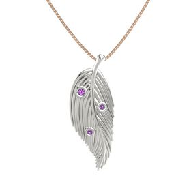 Round Amethyst 18K White Gold Pendant with Amethyst