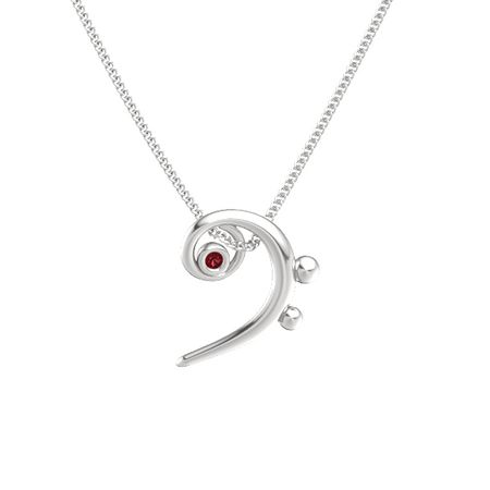 Sterling silver pendant with ruby bass clef necklace gemvara bass clef necklace aloadofball Images